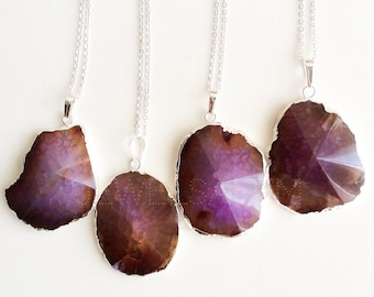Purple Agate Necklace, Silver, Maroon, Geode, Stone, Gemstone, Modern Jewelry, Birthstone Gift, Raw, Natural, Rustic, Mineral C1