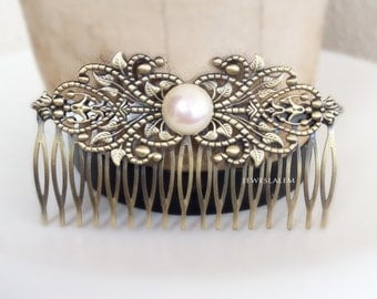 Pearl Hair Comb Modern Victorian Hair Slide for Bride Edwardian Art Deco Wedding Headpiece White Ivory Pearl Hair Accessories Film Noir JW