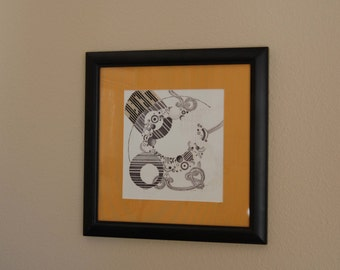 Framed Giclee Print of Original Pencil Drawing, Original Framed Art, Found Art, Altered Art from The Eclectic Interior
