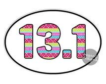 13.1 Half Marathon Sticker Runner Marathon Car Decal Oval Vinyl Window Bumper Sticker Run Colorful Cute Tribal Pattern Pink Green Blue Girly