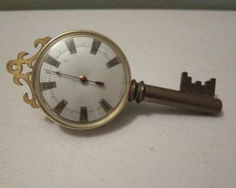 Vintage Brass Desk Top Key Themometer Made in France