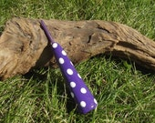 Purple Glitter Polka Spots Polymer Clay Thick Handled Crochet Hook - Any Size