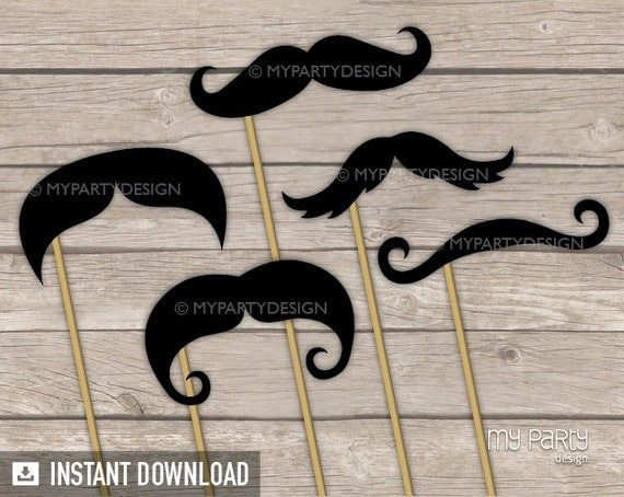 Photo Booth Props - PRINTABLE Mustaches - Props on a Stick - INSTANT DOWNLOAD