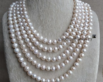 Off White Pearl Necklace, Long Pearl Necklace, 100 Inches 9-10mm Freshwater big Pearl Necklace, wedding pearl necklace,statement  necklace