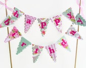 Happy Birthday Cake Bunting - Tea Party Cake Topper - Pink, Mint, Grey