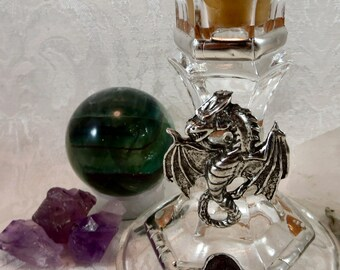 Dragon Candle Holder / Dragon Taper Candle Holder / Wicca Pagan Altar Candle Holder / Medieval Fantasy Wedding Handfasting Candle Holder