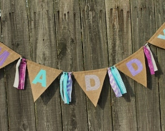 Custom Burlap Name Banner, Personalized Burlap Bunting, FROZEN party banner, Perfect for birthday, nursery, or any other event