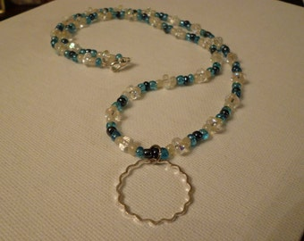 Blue, White, and Black Glasses Hanging Necklace