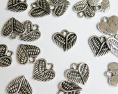 10 Heart Angel Wings charm antique silver steampunk 13x13mm PA19870