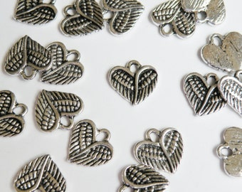 10 Heart Angel Wings charm antique silver steampunk 13x13mm PA19870