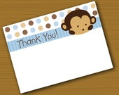 INSTANT DOWNLOAD Mod Pod Pop Monkey Thank You Cards Digital Files