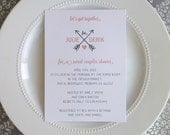 Printable Wedding Shower Invitation  - Love and Arrows