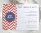 Printable Baby Shower Invitation  -  Modern Pattern in Coral and Navy