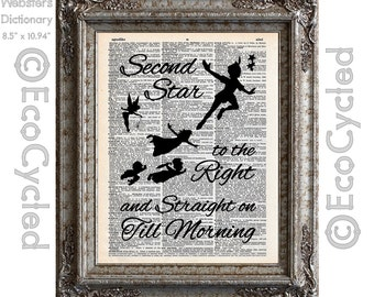 Peter Pan Second Star to the Right on Vintage Upcycled Dictionary Art Print Book Art Print Recycled bookworm gift