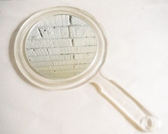Vintage large hand mirror clear lucite two sided