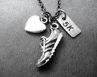 LOVE to RUN 5k - Running Necklace 3 Pendants with Puffed Heart on Gunmetal Chain - Running Jewelry - 5K Runner - Road Race Jewelry - 5k Race