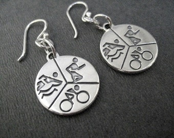 SWIM BIKE RUN - Tri Earrings - Sterling Silver Triathlon Earrings - Swim Bike Run Jewelry - Sterling Silver Wire - Triathlete - Tri Gift