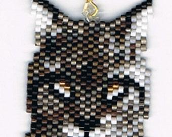 Hand Beaded Bobcat, Lynx Cat earrings