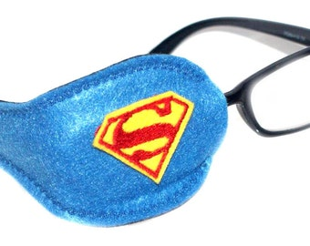 Kids and Adults Orthoptic Eye Patch For Amblyopia Lazy Eye Occlusion Therapy Treatment Royal Blue Superman Design