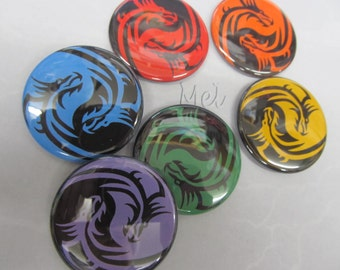 rainbow colors yin yang dragons set of 6 magnets or pins your choice of size