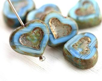 Mixed Blue Heart beads, Picasso beads, czech glass, table cut, blue glass heart - 14mm - 6Pc - 0776