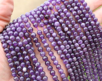 Amethyst(natural) 6mm Round Beads Strand, 16 Inch Strand G01095