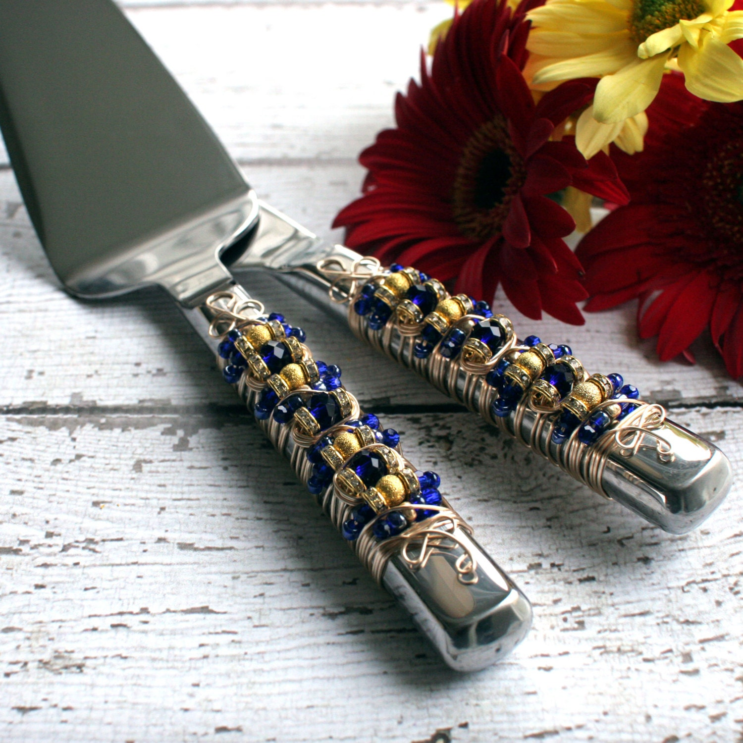 Royal Blue and Gold Beaded Wedding Cake Serving Set tabletop