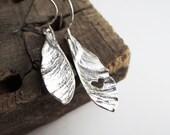 Samara Seeds Carved Heart Dangle Earrings - Helicopter Maple Seeds - Sterling Silver Earrings