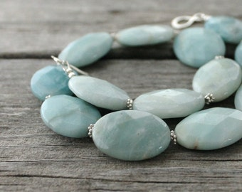 Mint Green Necklace: Chunky Rustic Amazonite Bead Gemstones with Sterling Silver, Statement Necklace