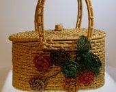 VTG Whimsical Natural Fiber Woven Handbag