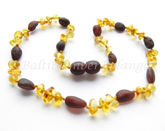 Baltic Amber Teething Necklace, Cherry and Lemon Color Beads