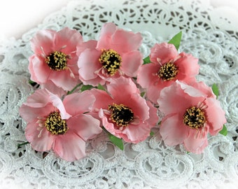 Reneabouquets Flower Set Of 6 - Camellia Pink Artificial Fabric Flowers
