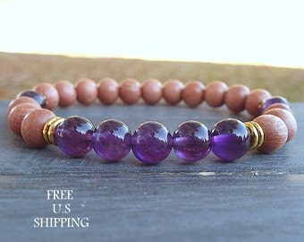 Rosewood, Amethyst bracelet,  healing bracelet, Yoga Bracelet, intention, Meditation bracelet, Reiki, mala, Amethyst , mala beads, tribal