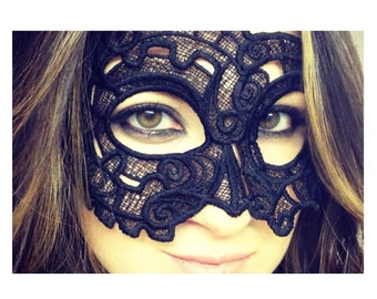 Black Steampunk/Victorian Gear Lace Mask
