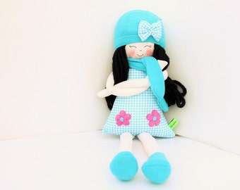 New '''' , Stephanie , soft doll, handmade  rag doll, wearing  beret ,scarf and socks ,  ready to ship,stuffed doll