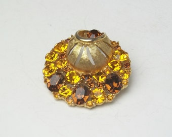 Topaz Golden Rhinestone Round Unique Design Vintage Brooch Unsigned Beauty Hollywood Glamour 1950's Costume Jewelry Pin on Etsy