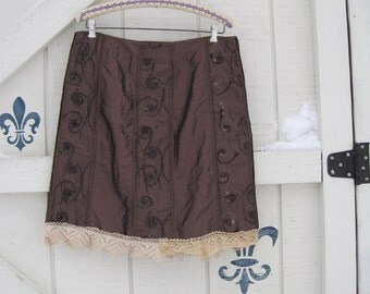 Boho skirt, Rustic tattered skirt, brown skirt, silk brocade skirt, embroidered rayon skirt, M upcycled clothing by Shaby Vintage
