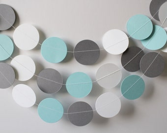 Baby Shower Decorations- Baby shower decor- Babies first birthday party- Light Blue, Gray and White Paper Garland
