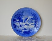 Vintage Blue Christmas Plate Currier and Ives The Homestead in Winter