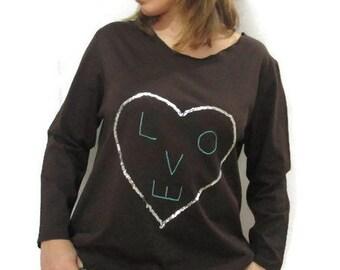 Love Brown Oversize Tunic Dress / Brown long Sleeves Tunic / Maternity Top / Midi dress / Knee Length Dress / Casual Tunic