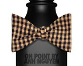 Brown and Black Gingham Self Tie Bow Tie