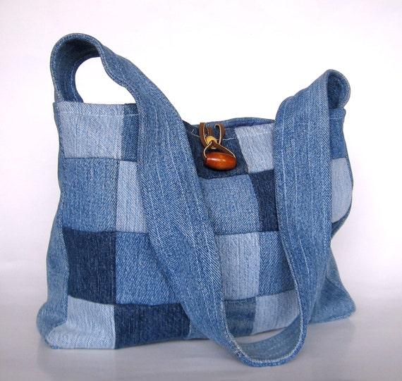 Patchwork Denim Purse Upcycled Purse SALE Reused Materials Bag Retro Bag Hippie Purse