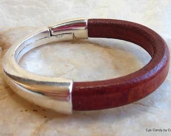 Licorice leather bracelet, brown leather, half clasp bracelet, magnetic clasp, licorice leather
