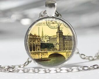 Paris Necklace Necklace Glass Pendant Necklace Paris Jewelry
