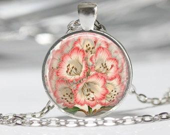 Flower Glass Pendant Flower Necklace Pink Flower Necklace