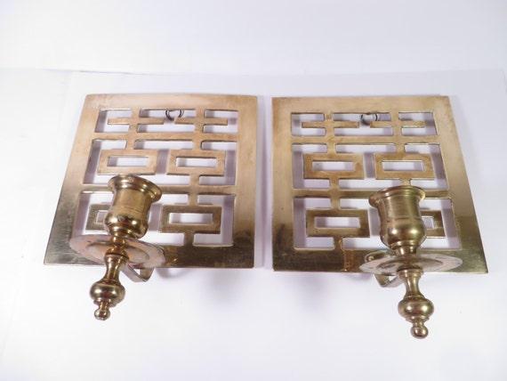 Greek Key Wall Decor : Vintage brass greek key wall sconces set of two