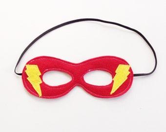 Superhero Mask, Red, Lightening Bolt, Baby, Toddler, Child, Dress-up, Pretend Play, Costume