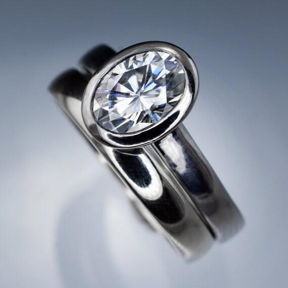 Bridal Ring Set Oval Moissanite Bezel Ring Solitaire