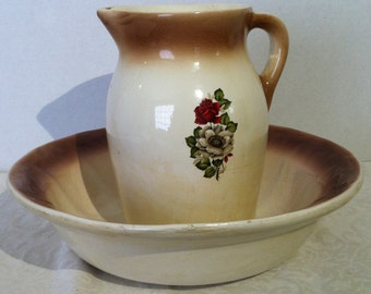 Vintage Ironstone Wash Basin and Pitcher With Floral Design