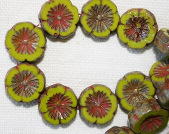 14mm . Czech glass key lime pie green carved flowers . 10 beads